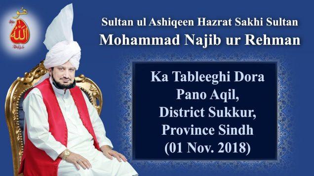 Sultan ul Ashiqeen ka Tableeghi Dora Pano Aqil, District Sukkur, Province Sindh (01 Nov. 2018)