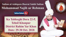 Sultan ul Ashiqeen Sultan Mohammad Najib ur Rehman ka Tableeghi Dora 22-P Khanpur  29-30 Oct. 2018